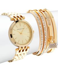 Adrienne Vittadini - Watch & Crystal-studded Bracelet- Set Of 5 - Lyst