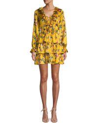 Avec Les Filles - Floral Ruffle A-line Dress - Lyst