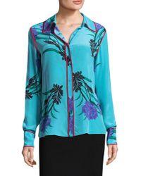Diane von Furstenberg - Long Sleeve Collared Shirt - Lyst