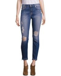 7 For All Mankind - Distressed Skinny Ankle Jeans - Lyst