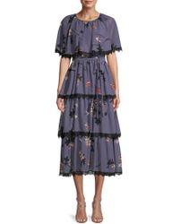 Avec Les Filles - Floral Tiered Midi Dress - Lyst