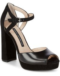 French Connection - Ankle Strap Textile Block Heels - Lyst