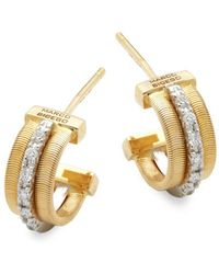 Marco Bicego Goa Diamond 18k White Gold And Yellow Engraved Earrings