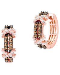 Le Vian - 14k Strawberry Gold Vanilla Diamonds & Chocolate Diamonds Huggie Earrings - Lyst