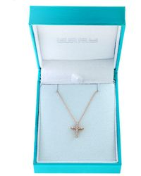 Effy - 15k Rose Gold And Diamonds Cross Pendant Necklace - Lyst