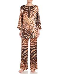 Natori - Zebra Print Silk Tunic Pyjamas - Lyst