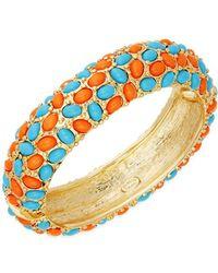 Kenneth Jay Lane - Turquoise & Coral Hinged Bangle Bracelet - Lyst