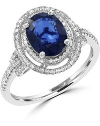 Effy - 14k White Gold Sapphire And Diamond Ring - Lyst