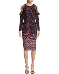 Maggy London - Floral Cold-shoulder Sheath Dress - Lyst