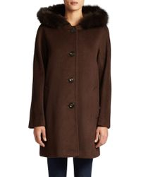 Ellen Tracy - Hooded Fox Fur-trimmed Coat - Lyst