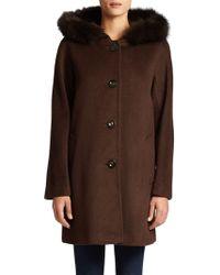 Ellen Tracy - Hooded Fox Fur-trimmed Coat - Lyst