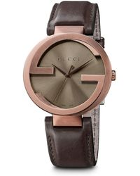 fc61adda9fb52 Gucci - Interlocking Brown Pvd Stainless Steel   Leather Strap Watch 42mm -  Lyst