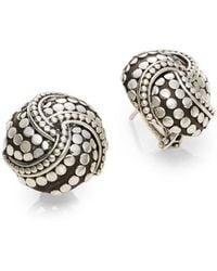 John Hardy - Dot Sterling Silver Button Earrings - Lyst