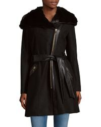 Via Spiga - Faux Fur-trimmed Hooded Coat - Lyst