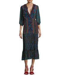 Saloni - Grace Off-shoulder Silk Dress - Lyst