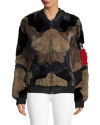 Adrienne Landau - Rabbit Fur Bomber Jacket - Lyst