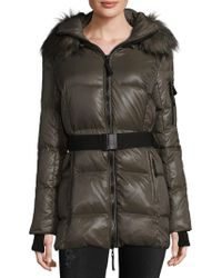 S13/nyc - Puffer Jacket With Faux Fur Trim Hood - Lyst