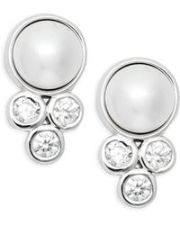 Adriana Orsini - Faux Pearl & Crystal Stud Earrings - Lyst