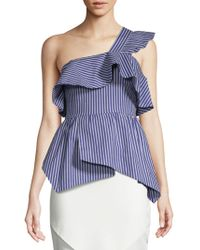 Lea & Viola - Striped One-shoulder Ruffle Cotton Top - Lyst