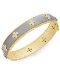 Freida Rothman - 14k Yellow Gold Vermeil & Pavé Clover Bangle Bracelet - Lyst