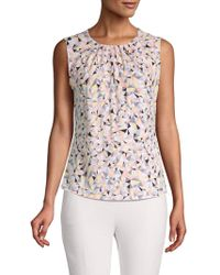 f3028c7c2f451 Lyst - Calvin Klein Sleeveless Abstract Print Tank Top in Pink