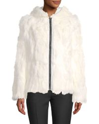 Adrienne Landau - Reversible Rabbit Fur Zip-front Coat - Lyst