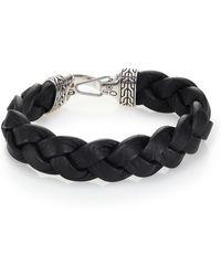 John Hardy - Classic Chain Sterling Silver & Leather Braided Hook Bracelet - Lyst