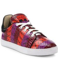 Isa Tapia - Round Toe Lace-up Leather Sneakers - Lyst