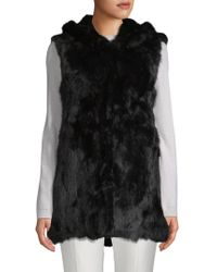 Adrienne Landau Hooded Rabbit Fur Vest