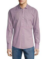 Zachary Prell - Micro Check Long-sleeve Cotton Button-down Shirt - Lyst