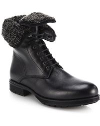 Aquatalia - Hayden Shearling-lined Leather Lace-up Boots - Lyst