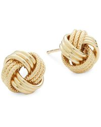 Saks Fifth Avenue - 14k Gold Textured Stud Earrings - Lyst