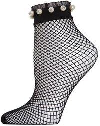 Memoi Faux Pearl Ruffle-cuff Fishnet Anklet Socks