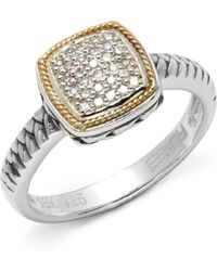 Effy - Diamond In 18k Yellow Gold & Sterling Silver Square Ring - Lyst