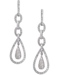 Effy - Diamond & 14k White Gold Teardrop Earrings - Lyst