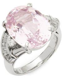 Estate Fine Jewelry - Kunzite, Diamonds & Platinum Cocktail Ring - Lyst