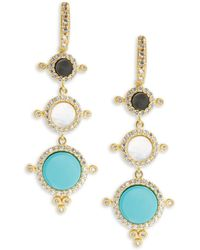 Freida Rothman - Classic Nautical Compass Cubic Zirconia & 14k Gold-plated Sterling Silver Drop Earrings - Lyst