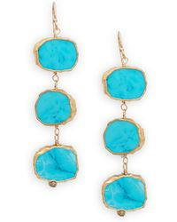 Alanna Bess - Turquoise Three-tiered Drop Earrings - Lyst