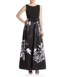 Ellen Tracy - Combo Floral Print Ball Gown - Lyst