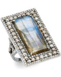 Bavna - Champagne Diamond, Labradorite & Sterling Silver Platform Ring - Lyst