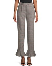 Rosie Assoulin - Ruffle-trimmed Plaid Wool Straight-leg Trousers - Lyst