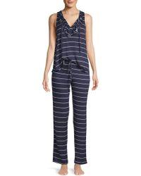 Catherine Malandrino - Two-piece Lace-up Tank Pajama Set - Lyst