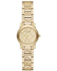 Burberry - 26mm Check-engraved Yellow Golden Plated City Watch - Lyst