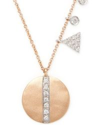 Meira T - Disc Diamond And 14k Rose Gold Pendant Necklace - Lyst