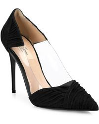 34b3e90a485 Lyst - Valentino Rockstud Leather D orsay Peep Toe Pumps in Black