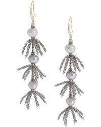 Saachi - Layered Beaded Crystal & Freshwater Pearl Tarameen Earrings - Lyst