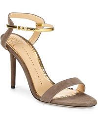 Charlotte Olympia - Metallic-trimmed Leather Ankle Strap Sandals - Lyst