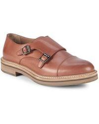 Brunello Cucinelli - Double Monk-strap Leather Cap Toe Oxfords - Lyst