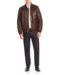 Andrew Marc - Hughes Leather Fur-lined Moto Jacket - Lyst