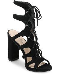 Nine West - Suede Lace-up Cage Sandals - Lyst